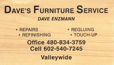 Furniture Repair Daves Furniture Service Card